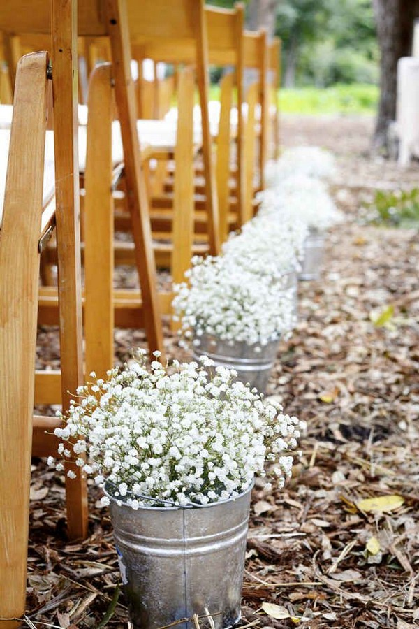 baby's breath decorated wedding aisle ideas