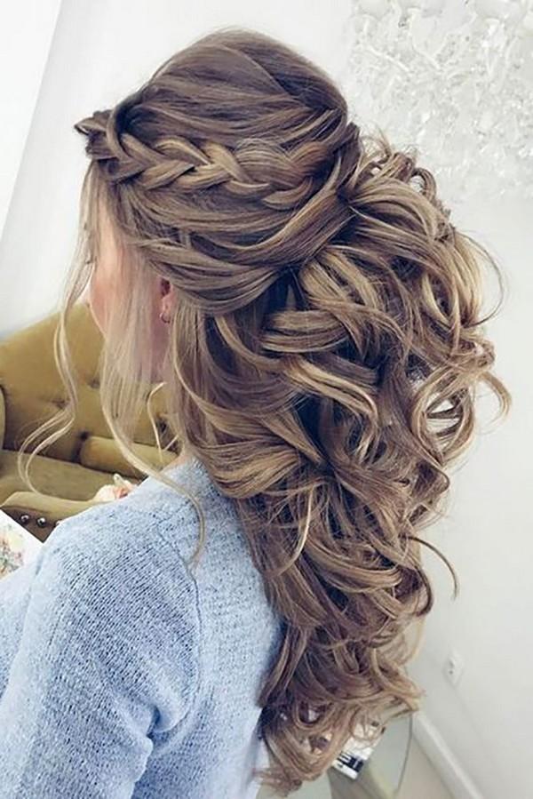 pretty half up half down wedding hairstyle ideas