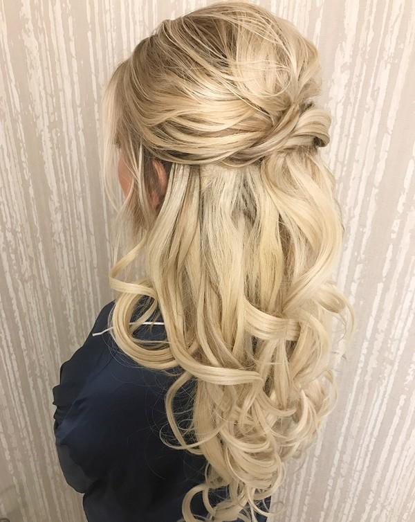 romantic half up half down wedding hairstyles for long hair