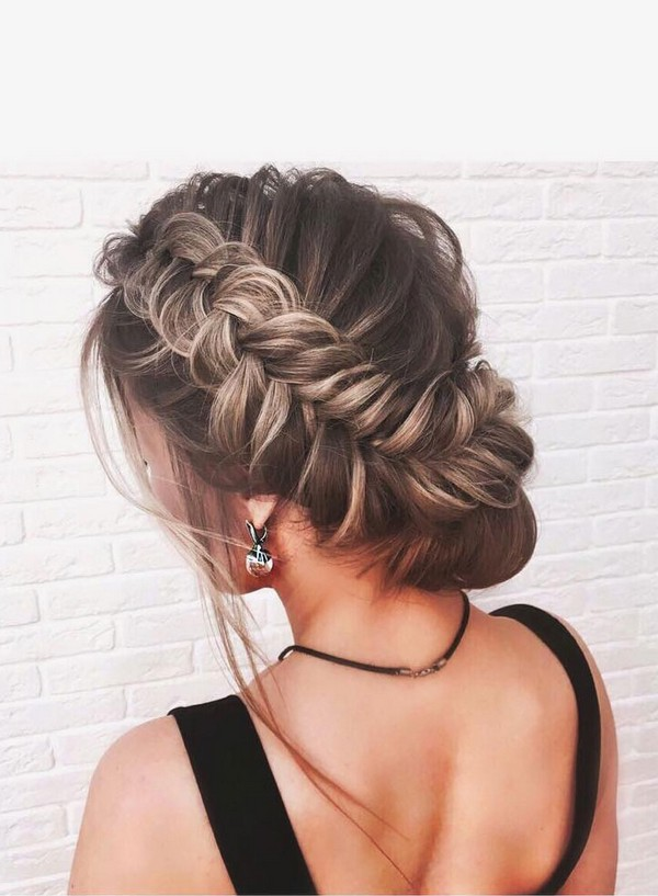 twisted updo bridal wedding hairstyle ideas