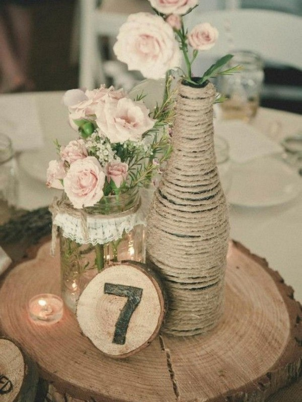 wooden themed rustic wedding centerpieces