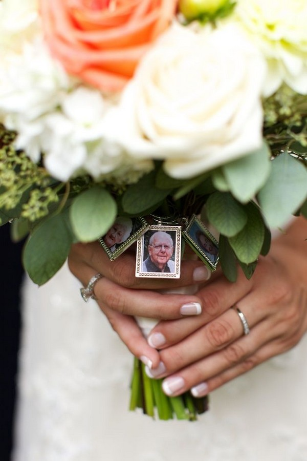Bouquet photo charms to honor deceased loved ones at wedding