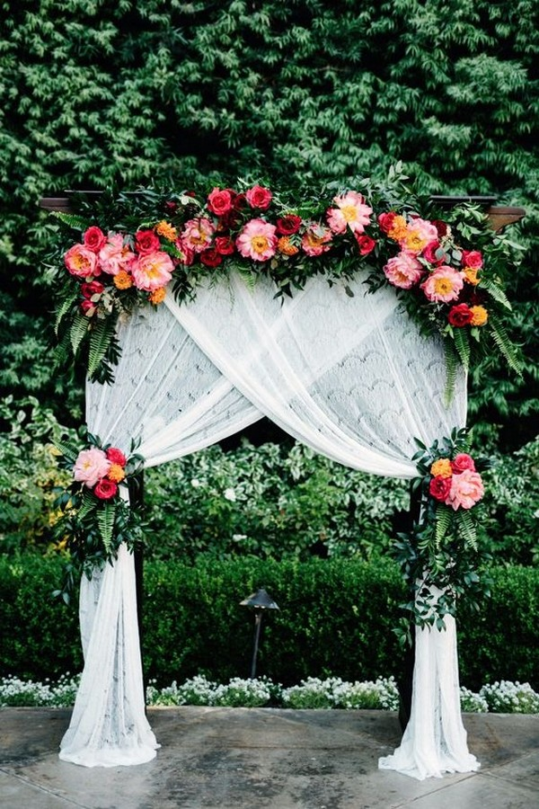 chic flowers accented outdoor wedding arch ideas