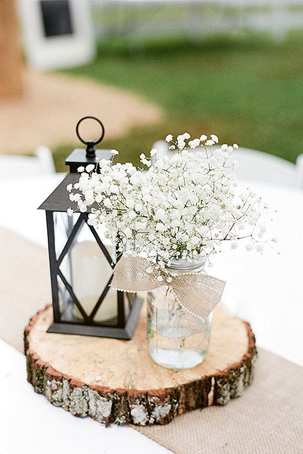 Chic Rustic Lantern Wedding Centerpiece Ideas With Baby S Breath