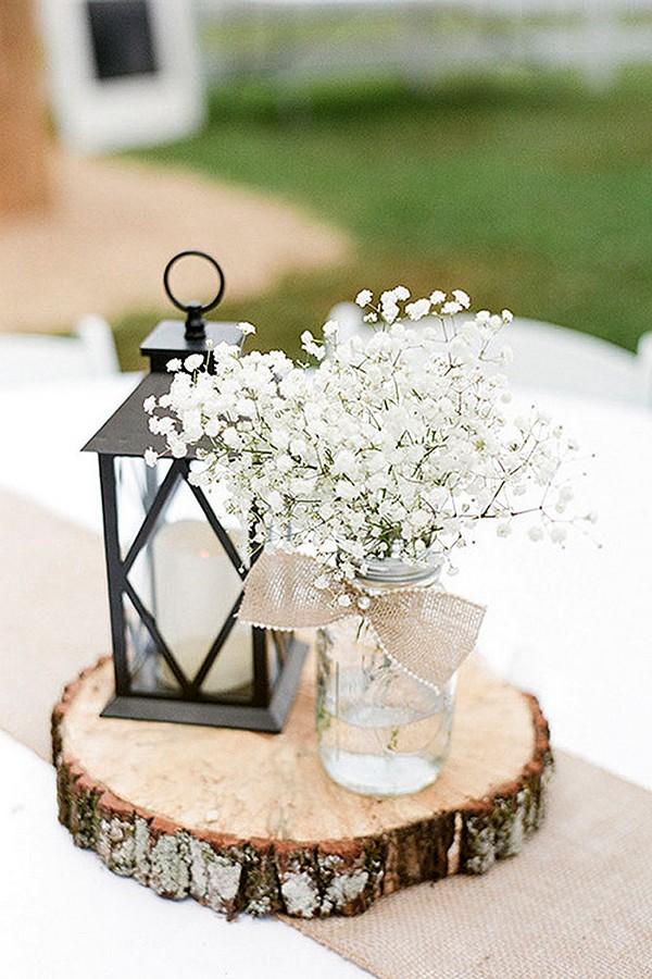 chic rustic lantern wedding centerpiece ideas with baby\'s breath ...