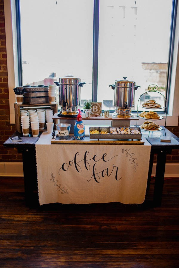 coffee bar for rustic wedding ideas
