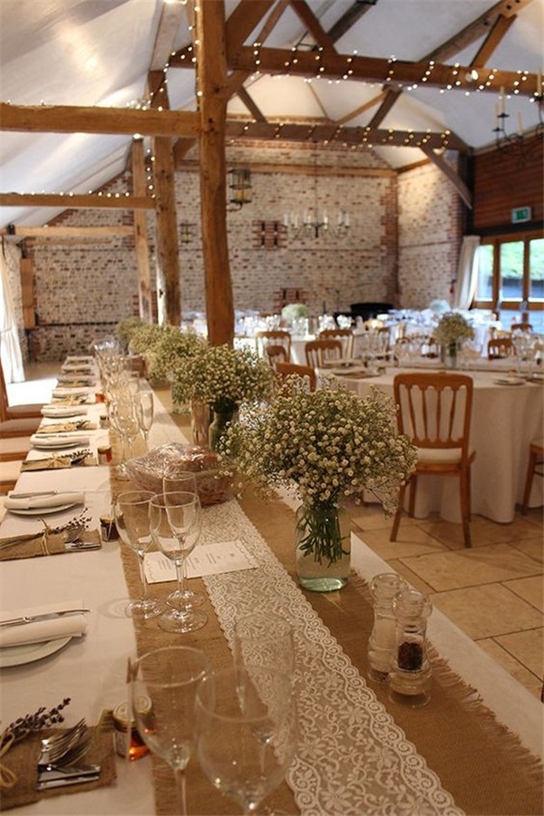 country rustic wedding reception ideas with lace and burlap