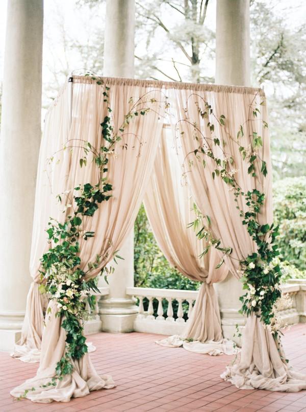 elegant greenery and blush wedding arch ideas