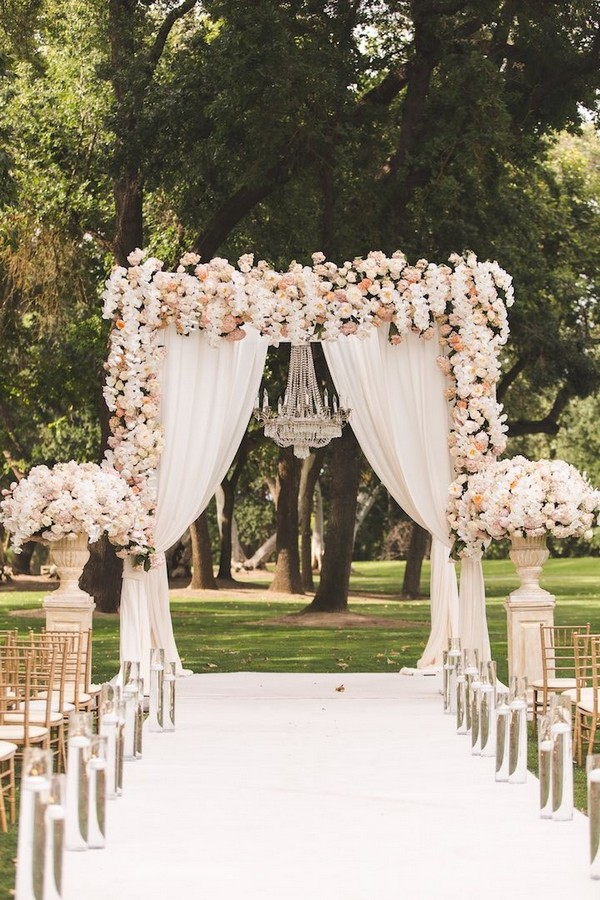 fairytale wedding arch and aisle decoration ideas with flowers