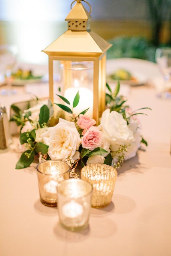 gold and blush lantern wedding centerpiece ideas
