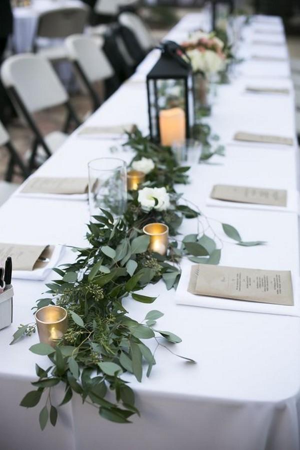 greenery wedding centerpiece ideas with lanterns
