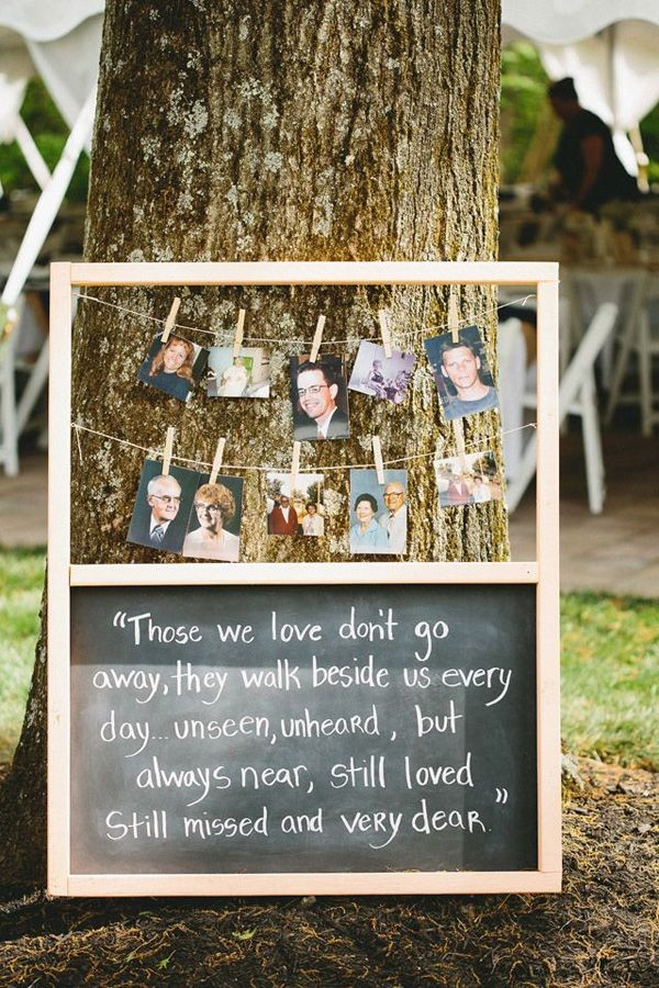 honor deceased ones by displaying their photos at wedding