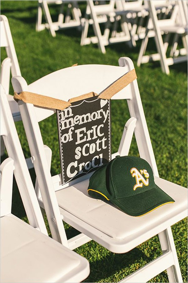 in memory of loved ones at ceremony with chalkboard signs