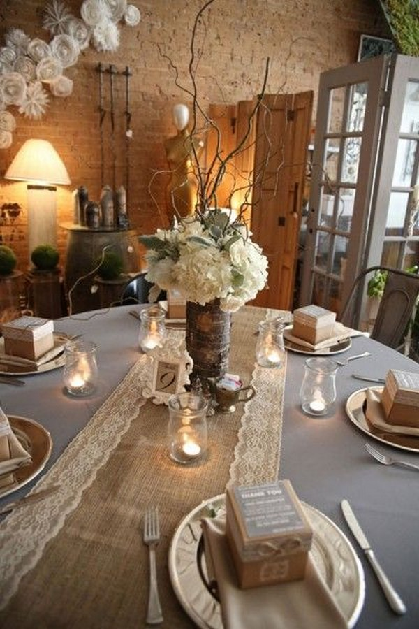 lace and burlap wedding centerpieces
