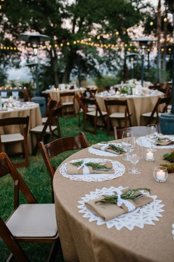 Lace and burlap wedding table decoration ideas for outdoor backyard lace and burlap wedding table decoration ideas for outdoor backyard wedding junglespirit Images
