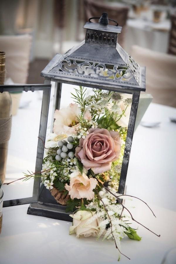 lantern wedding centerpieces with dusty rose