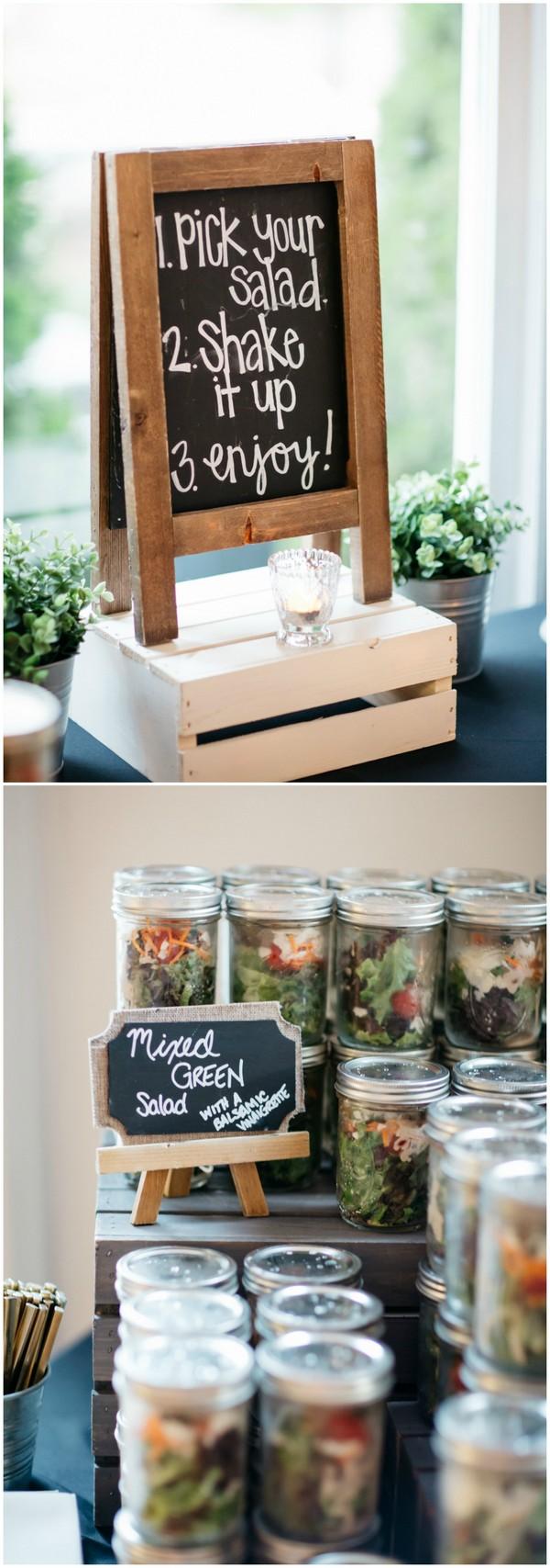 mixed green salad wedding food station ideas