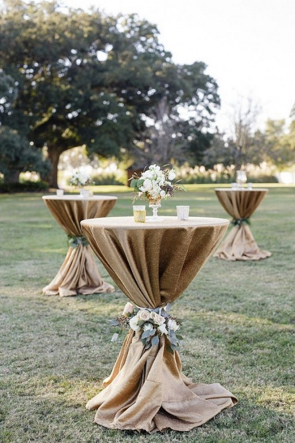 15 rustic lace and burlap wedding ideas to love for Wedding cocktail tables decorations