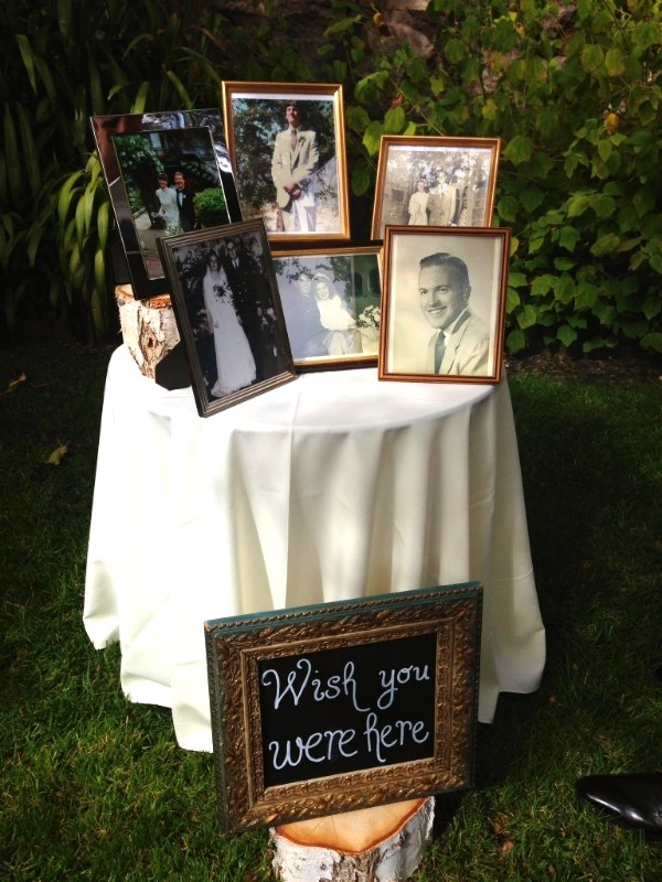 photo display ideas to honor loved ones at wedding reception