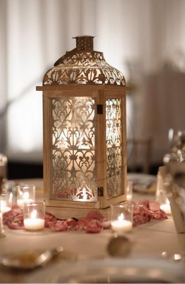 romantic laser cut lantern wedding centerpiece