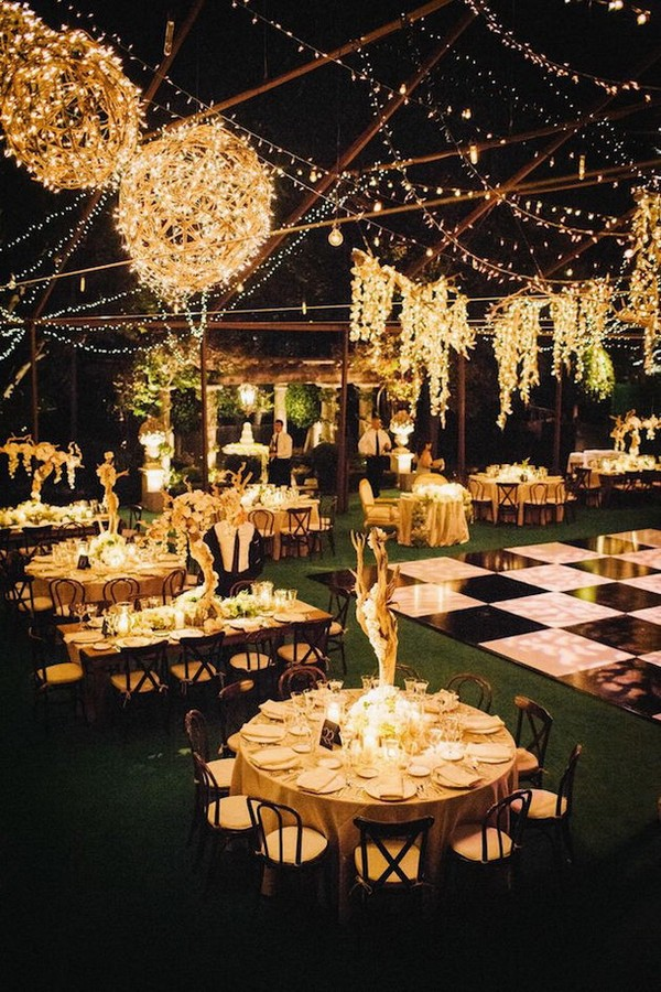 romantic wedding reception ideas with string lights