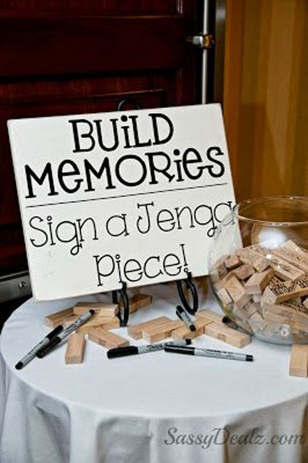 sign a jenga with memories bridal shower games