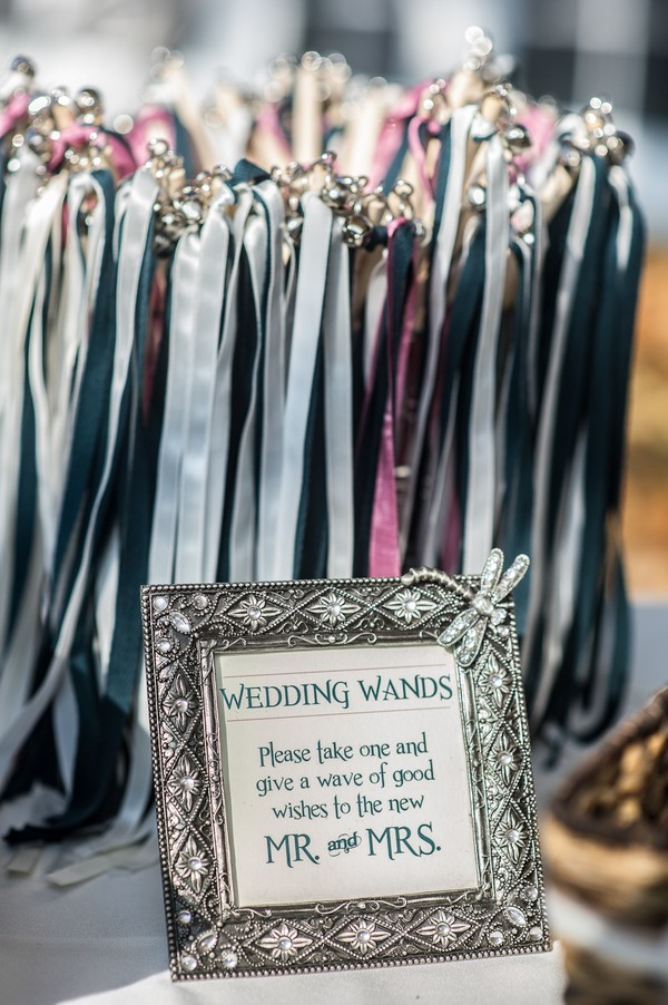 vintage wedding exit send off ideas with ribbon wands