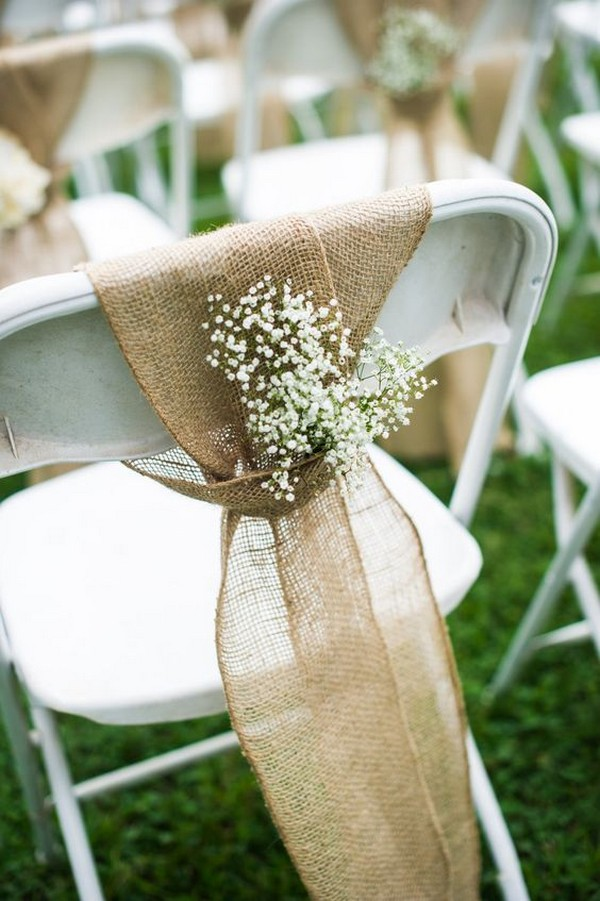 wedding chair decoration ideas with burlap and baby's breath