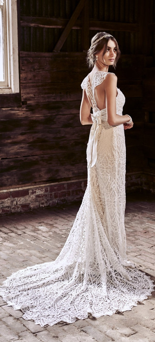 Eleanor anna campbell vintage t bra guipure lace wedding dress 2018 ...