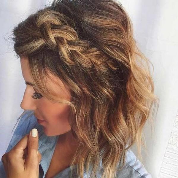 Side Dutch Braid Medium Length Wedding Hairstyles - EmmaLovesWeddings