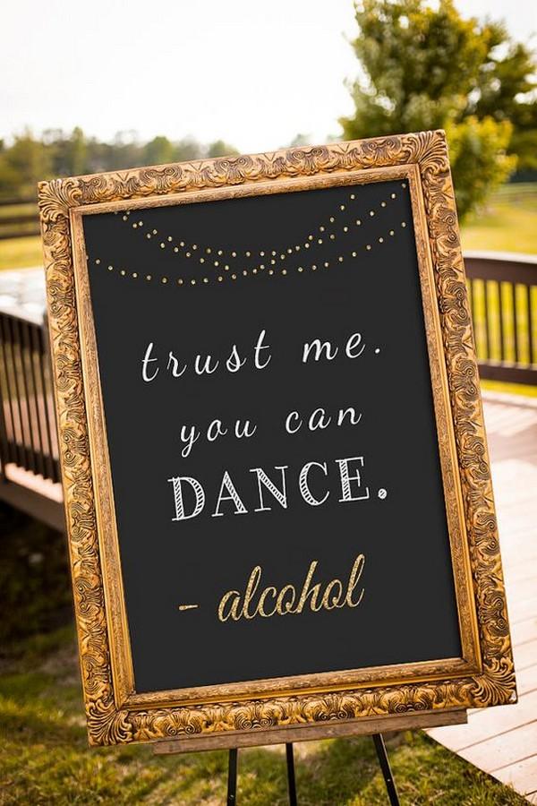 Trust me you can dance chalkboard wedding sign