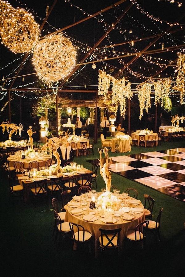 backyard wedding reception ideas with string lights