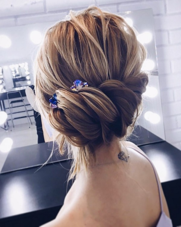 elegant updo wedding hairstyle 2018