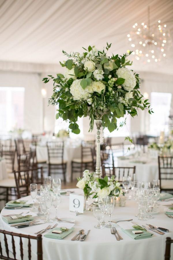 Green And White Tall Wedding Centerpiece Ideas Emmalovesweddings