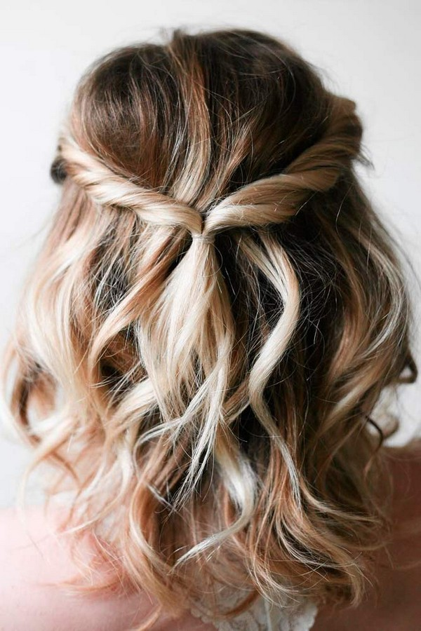 half up half down easy bridal hairstyles for medium length hair