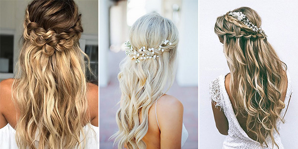 15 chic half up half down wedding hairstyles for long hair a half up half down wedding hairstyle is a perfect option that offers something between a romantic updo and a fancy down do herere some stunning ideas junglespirit