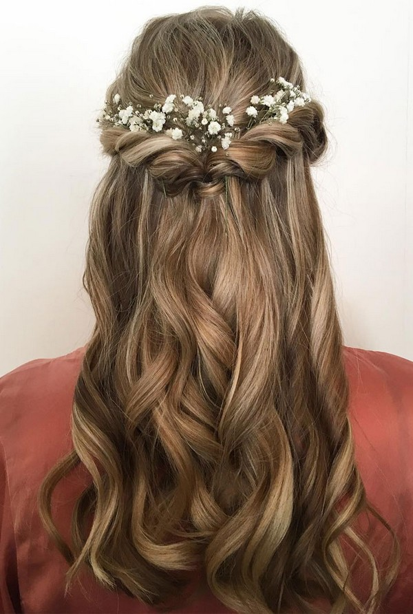 half up half down wedding hairstyle with baby\'s breath ...