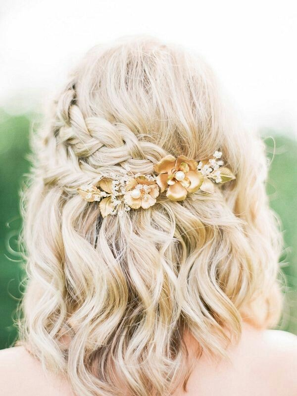 Half Up Down Wedding Hairstyles For Medium Length
