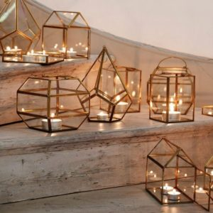light geometric decorations for modern industrial wedding ideas