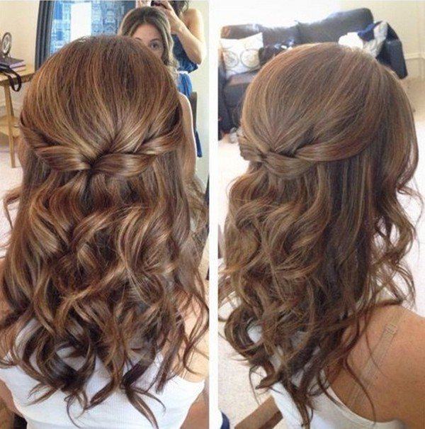 medium length bridal hairstyles half up half down - EmmaLovesWeddings