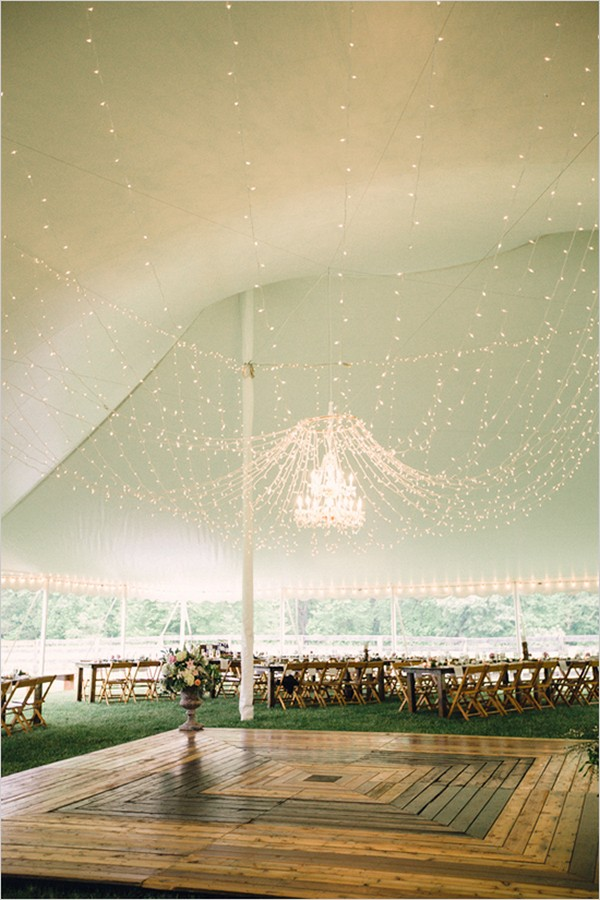 outdoor tented wedding reception ideas with string lights