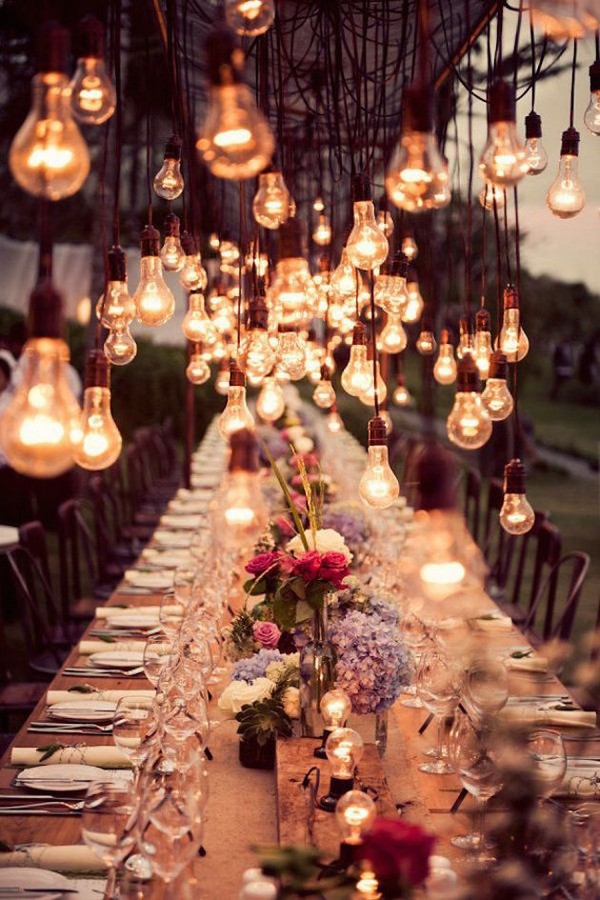 Outdoor Wedding Reception Ideas With Hanging Lights