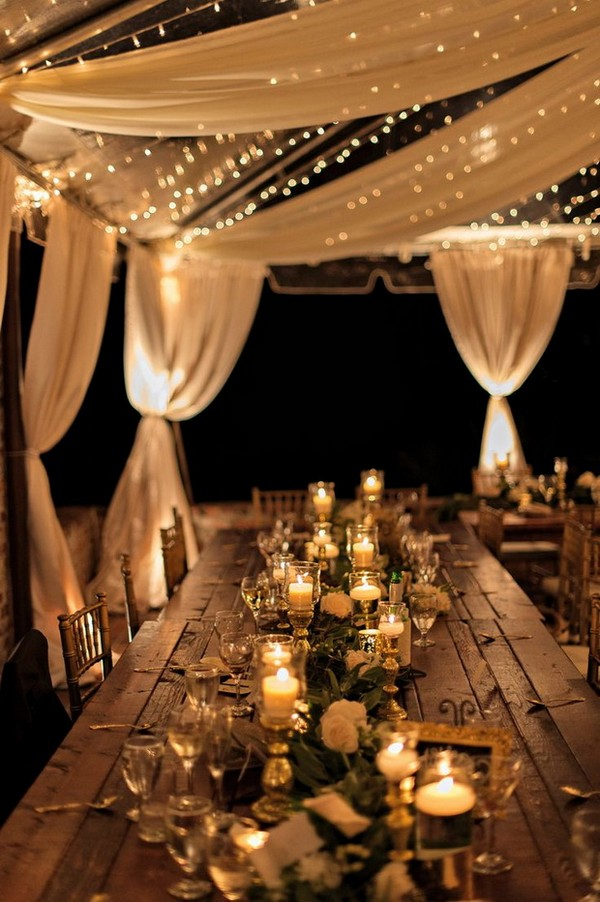 romantic outdoor wedding reception ideas with lights