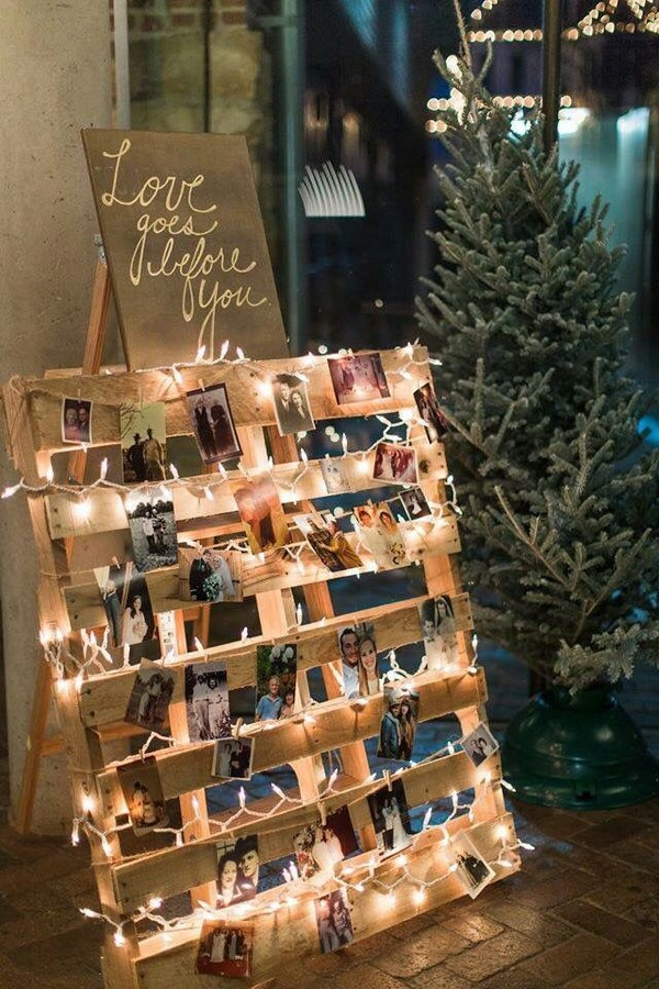 rustic wedding photo display ideas with string lights