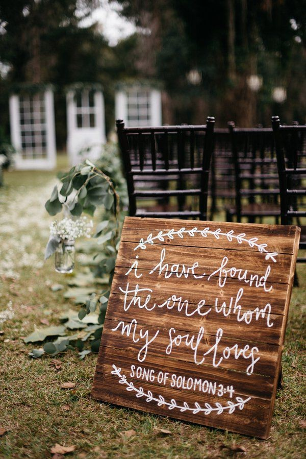 rustic wooden wedding sign for ceremony