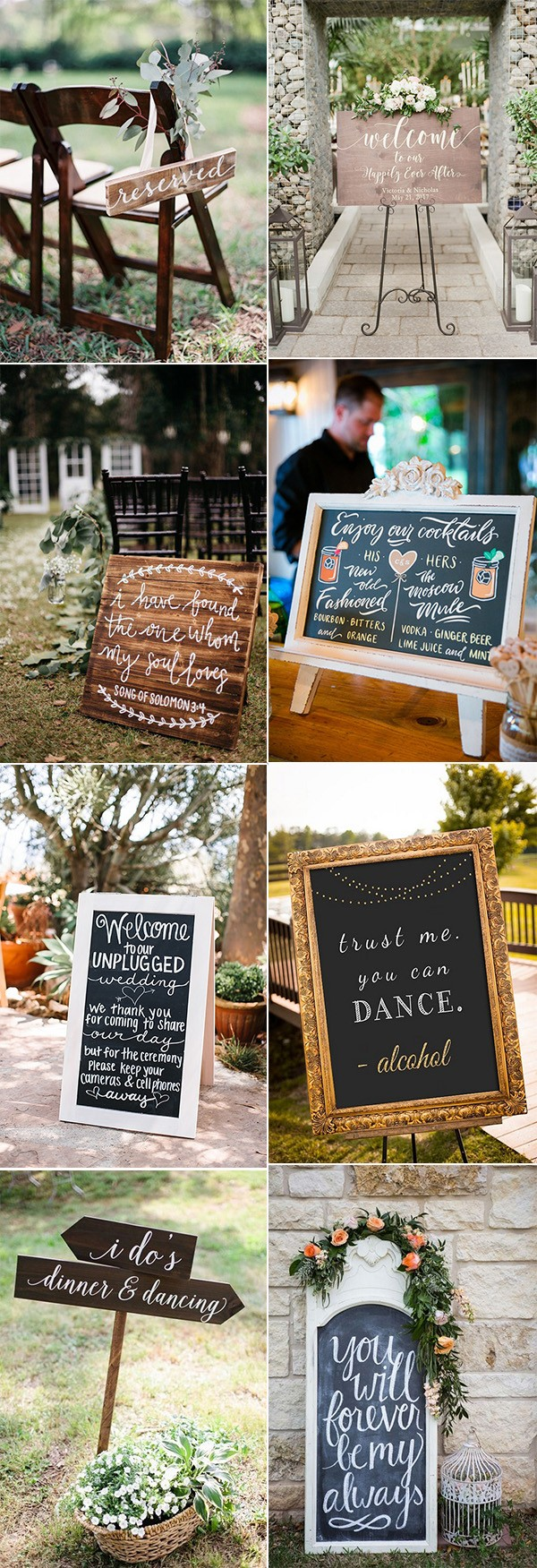 signs for outdoor wedding ideas