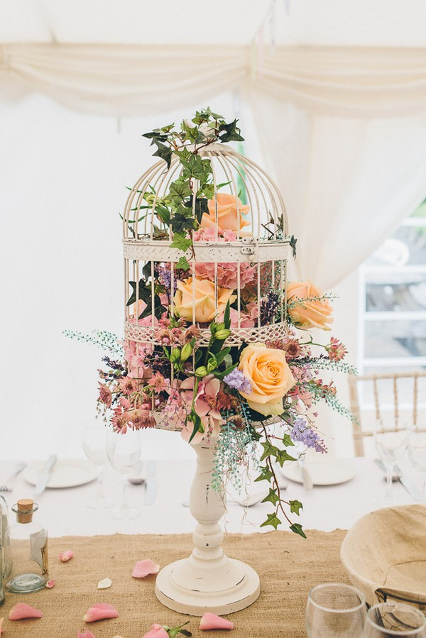vintage tall birdcage wedding centerpiece ideas