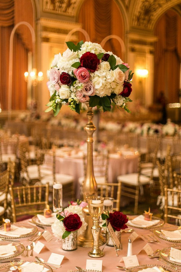 vintage tall wedding centerpiece ideas with candlestick