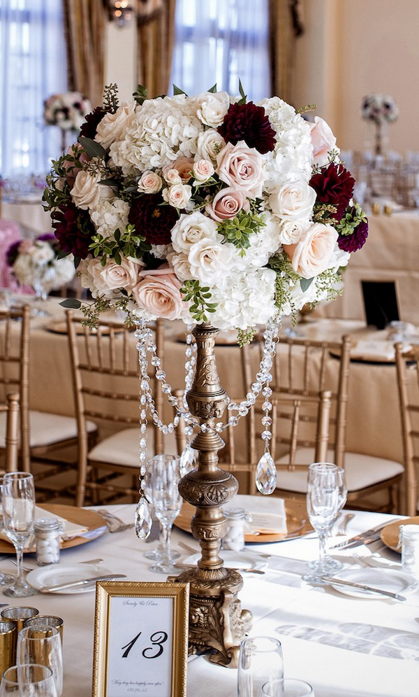 vintage tall wedding centerpiece ideas