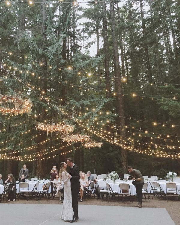 wedding reception decoration ideas for a forest wedding with lights